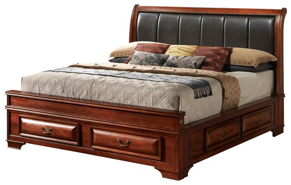 Glory Furniture Lavita Transitional Oak Full Storage Beds With Padded Headboard GLRY-G8850C-75C-BED-VAR