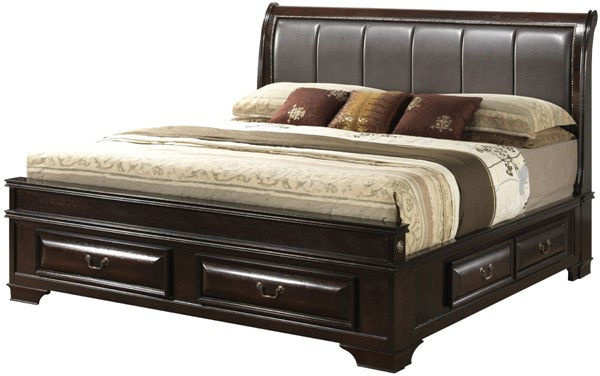 Glory Furniture LaVita Cappuccino Faux Leather Full Storage Bed GLRY-G8875C-FB3