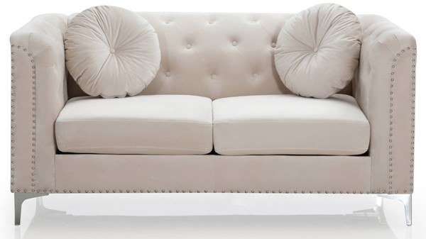 Glory Furniture Pompano Ivory Velvet Loveseat GLRY-G898A-L