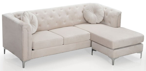 Glory Furniture Pompano Contemporary Ivory Sofa Chaise GLRY-G898B-SC