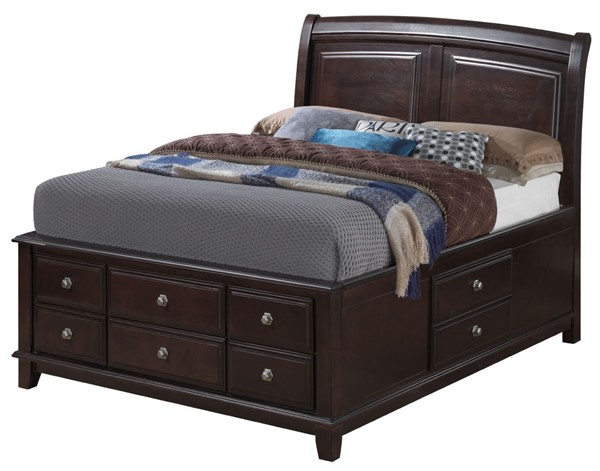 Glory Furniture Ashford Transitional Cappuccino King Storage Bed GLRY-G9800B-KSB