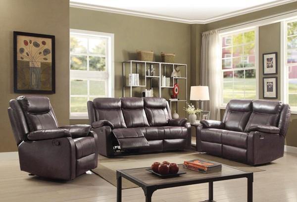 Glory Furniture Ward Contemporary Dark Brown 3pc Living Room Sets GLRY-G76-RC-LR-VAR