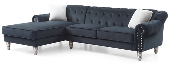 Glory Furniture Encino Black Velvet Sectional GLRY-G0522B-SC