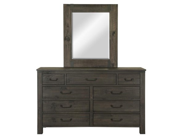 Abington Weathered Charcoal Wood Drawer Dresser & Portrait Mirror MG-B3804-DRMR