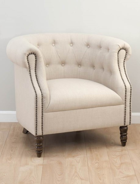 Grace Traditional Natural Wood Fabric Tufted Club Chair JFN-GRACE-CH-NATURAL