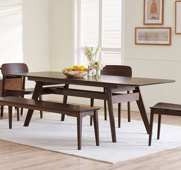 Currant Modern Black Walnut Bamboo Extendable Dining Table GRN-G0022BL