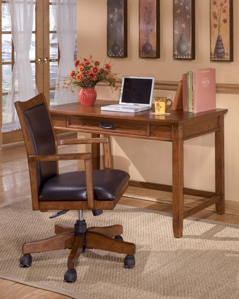 Cross Island Traditional Brown Oak Wood Small Home Office Desk H319-10
