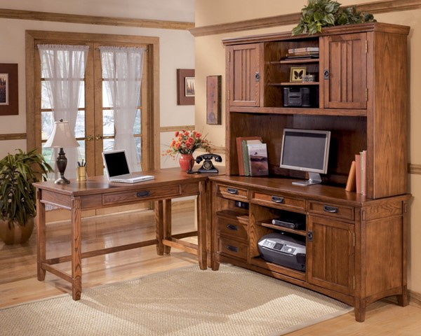 Cross Island Traditional Brown Oak Wood Home Office Corner Table H319-47