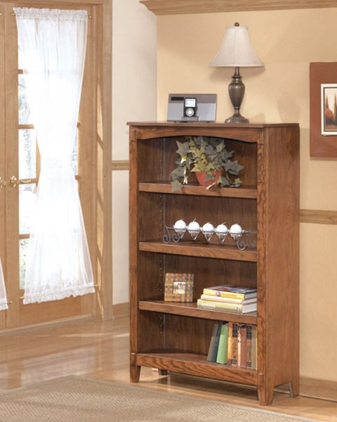 Cross Island Traditional Med Brown Oak Wood Medium Bookcase H319-16