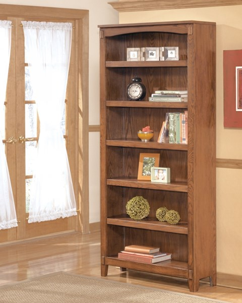 Cross Island Traditional Med Brown Oak Wood Large Bookcase H319-17