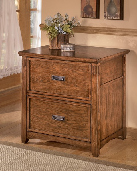 Cross Island Traditional Brown Oak Wood Lateral File Cabinet H319-42
