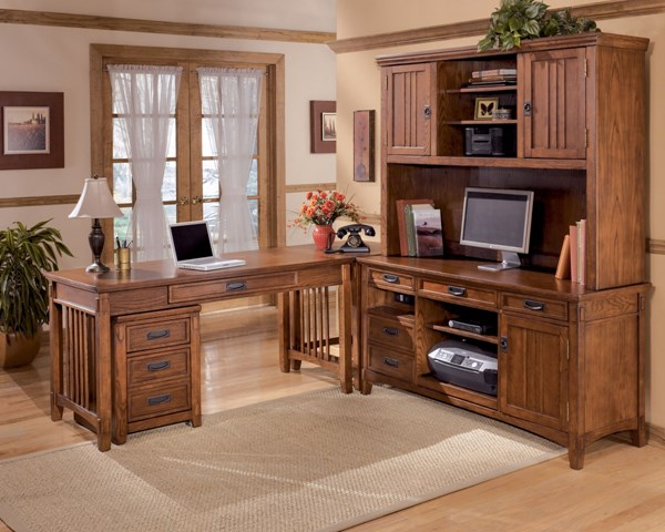 Cross Island Traditional Brown Oak Stain Wood Office Furniture Set H319
