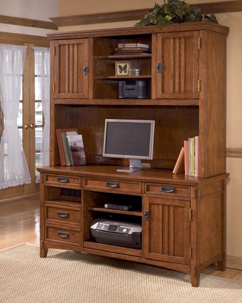 Cross Island Traditional Brown Oak Wood Credenza W/Large Hutch H319-46-49