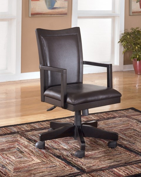 Carlyle Contemporary Black Wood Swivel Home Office Desk Chair H371-01A