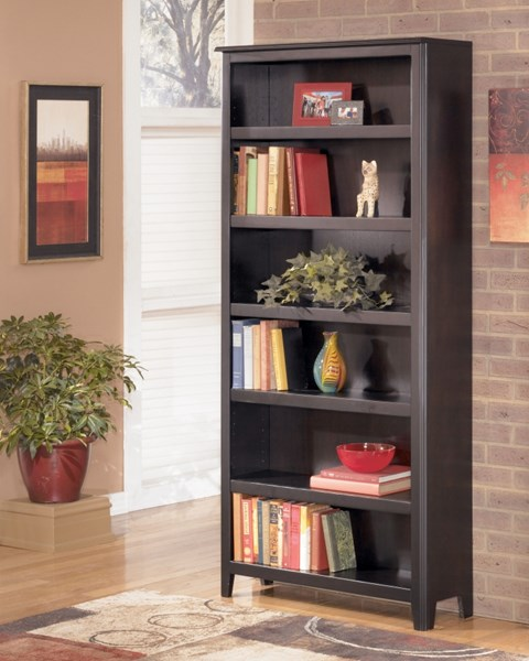 Carlyle Contemporary Black Wood Large Bookcase W/Adjustable Shelves H371-17