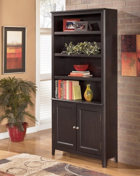 Carlyle Contemporary Black Wood Large Door Bookcase H371-18
