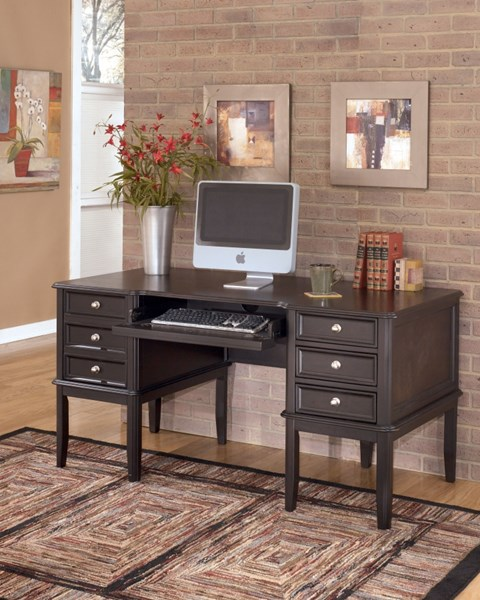 Carlyle Contemporary Black Wood Home Office Desk W/Keyboard Tray H371-27