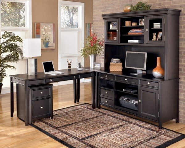 Carlyle Contemporary Black Wood Office Furniture Set H371