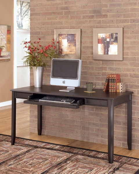 Carlyle Contemporary Black Wood Home Office Large Leg Desk H371-44