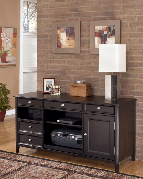 Carlyle Contemporary Black Wood Large Credenza W/Adjustable Shelves H371-46