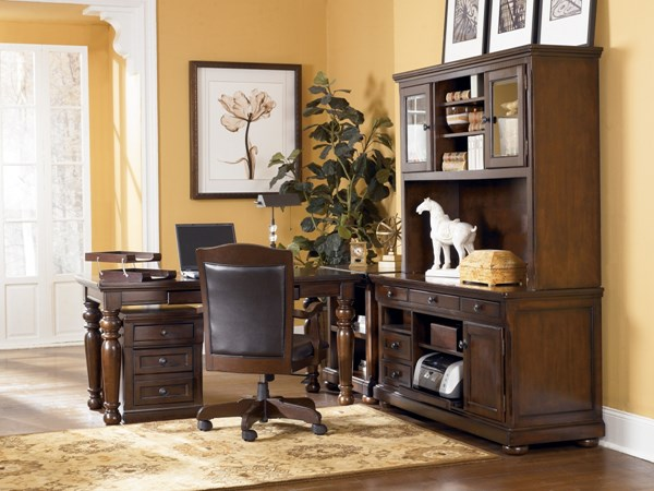Porter Traditional Brown Wood PVC Office Furniture Set H697
