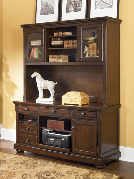 Porter Traditional Brown Wood Home Office Desk Hutch H697-49