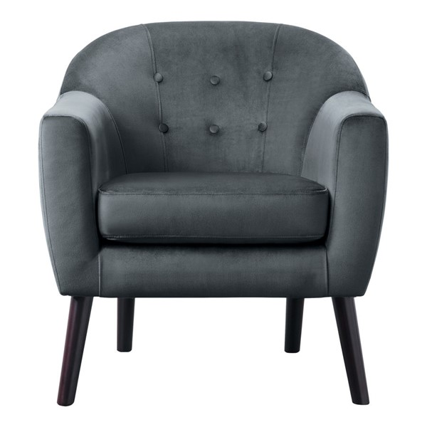 Home Elegance Quill Gray Velvet Accent Chair HE-1127GY-1