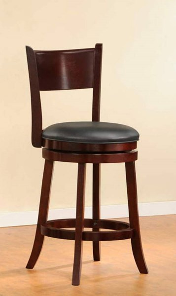 2 Shapel Traditional Cherry Wood Armless Swivel Counter Height Chairs HE-1136-24S