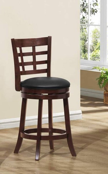 2 Edmond Dark Cherry Wood Grid Back Swivel Counter Height Chairs HE-1142E-24S