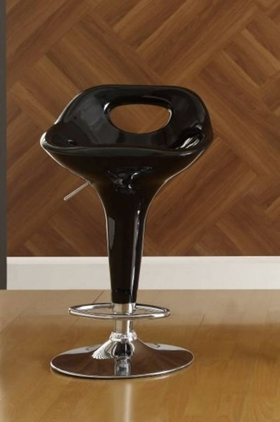 2 Black Contemporary White Metal Keyhole Back Airlift Swivel Stools HE-1147BLK