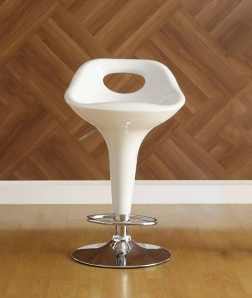 2 Ride Contemporary White Metal Keyhole Back Airlift Swivel Stools HE-1147WHT