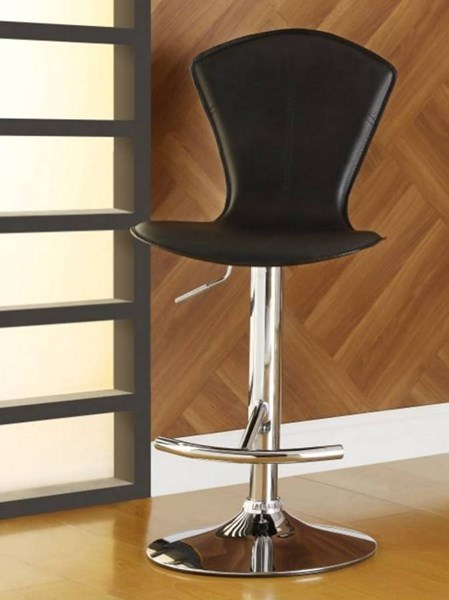 2 Ride Contemporary Black Metal Solid Back Airlift Swivel Stools HE-1148BLK