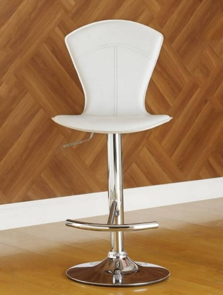 2 Ride Contemporary White Metal Solid Back Airlift Swivel Stools HE-1148WHT