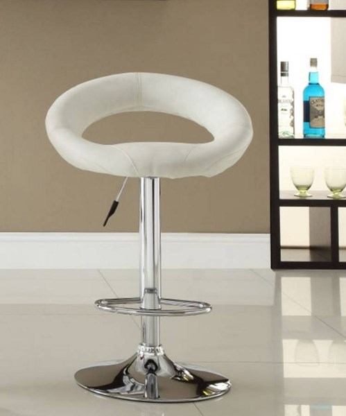2 Ride Contemporary White Metal Armless Low Back Airlift Swivel Stools HE-1155WHT