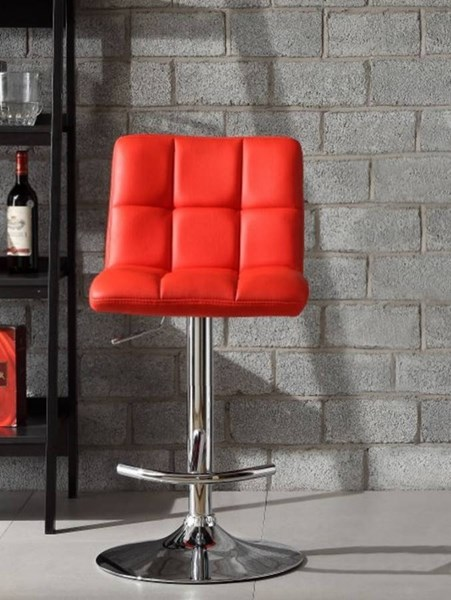 2 Ride Contemporary Red Bonded Leather Metal Airlift Swivel Stools HE-1157RED