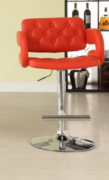 2 Ride Contemporary Red Metal Tufted Low Back Airlift Swivel Stools HE-1178RED