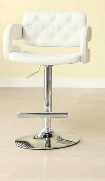 2 Ride Contemporary White Metal Tufted Low Back Airlift Swivel Stools HE-1178WHT