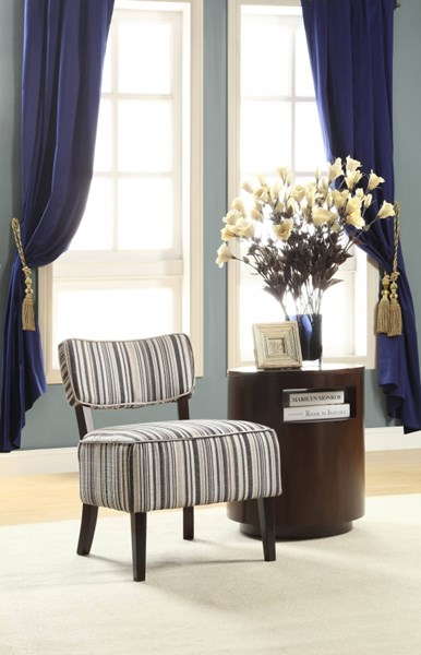 Orson Blue Strips Fabric Wood Cushion Back Accent Chair HE-1191F1S