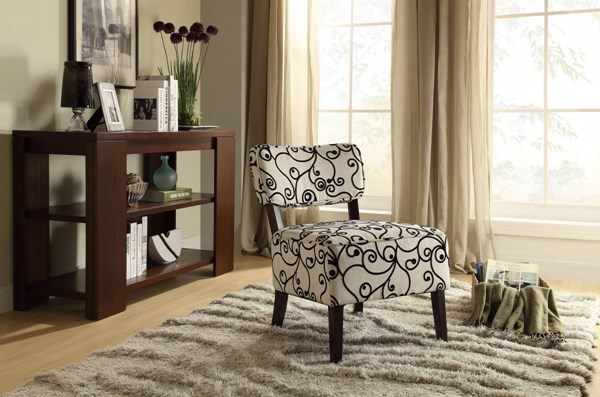 Orson Black Cream Fabric Wood Cushion Back Accent Chair HE-1191F2S