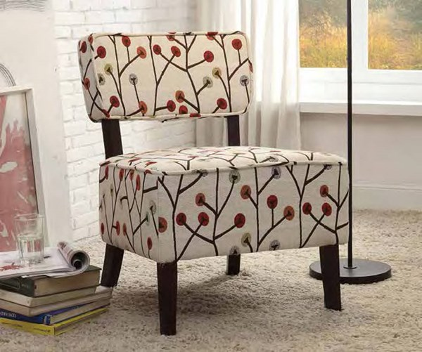 Orson Red Cream Fabric Wood Cushion Back Accent Chair HE-1191F5S