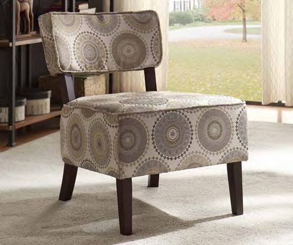 Orson Grey Fabric Wood Cushion Back Accent Chair HE-1191F6S