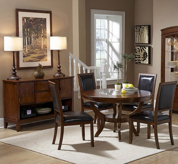 Avalon Casual Cherry Wood 48 Inch Round Glass Inset Dining Room Set HE-1205-48-DR