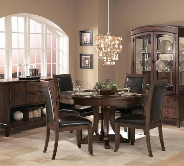 Avalon Casual Cherry Wood 54 Inch Round Pedestal Dining Room Set HE-1205-54-DR