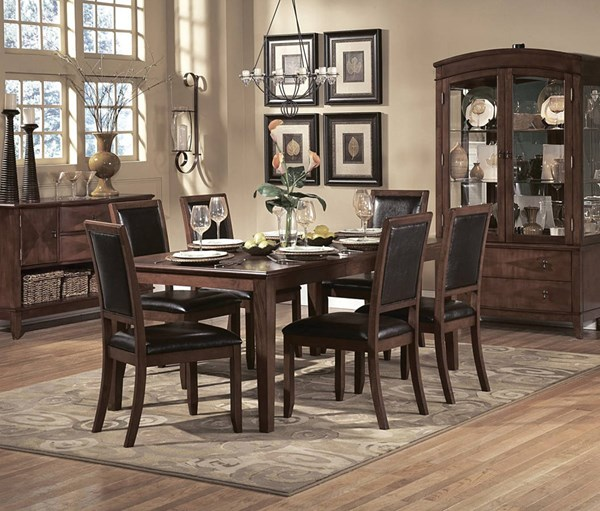 Avalon Casual Brown Wood 7pc Dining Room Set HE-1205-DR-S1