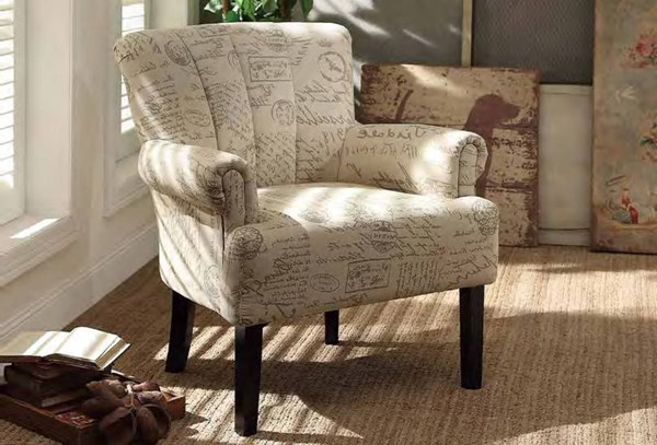 Langdale French Note Fabric Dark Cherry Wood Legs Accent Chair HE-1212F2S
