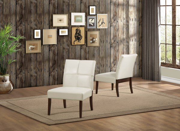 Oriana Transitional Cream Vinyl Wood Cushion Accent Chair HE-1215CRS