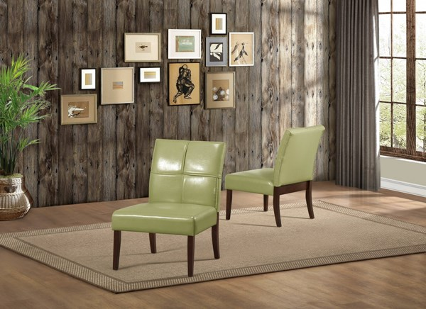 Oriana Transitional Green Vinyl Wood Cushion Accent Chair HE-1215GRS