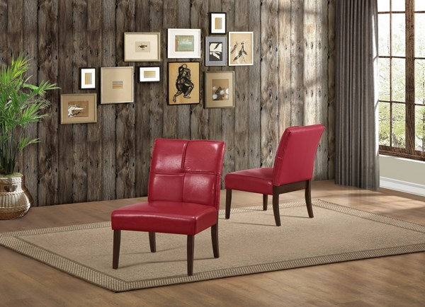 Oriana Transitional Red Vinyl Wood Cushion Accent Chair HE-1215RDS