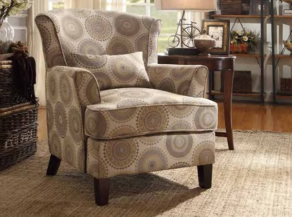 Nicolo Classic Tonal Grey One Kidney Pillow Accent Chair HE-1216F1S