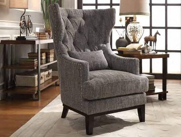 Adriano Dark Grey Woven Fabric 1 Kidney Pillow Wing Back Accent Chair HE-1217F1S